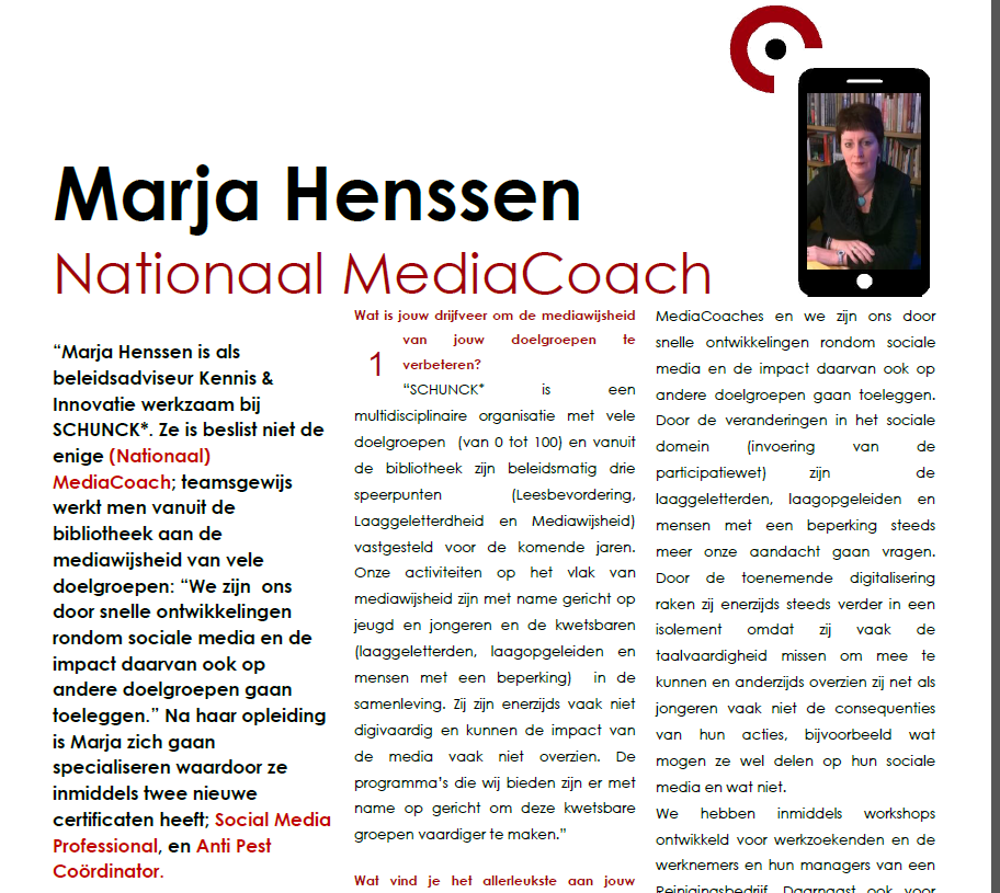 Marja Henssen, Nationaal MediaCoach, Anti Pest Coordinator, Social Media Professional